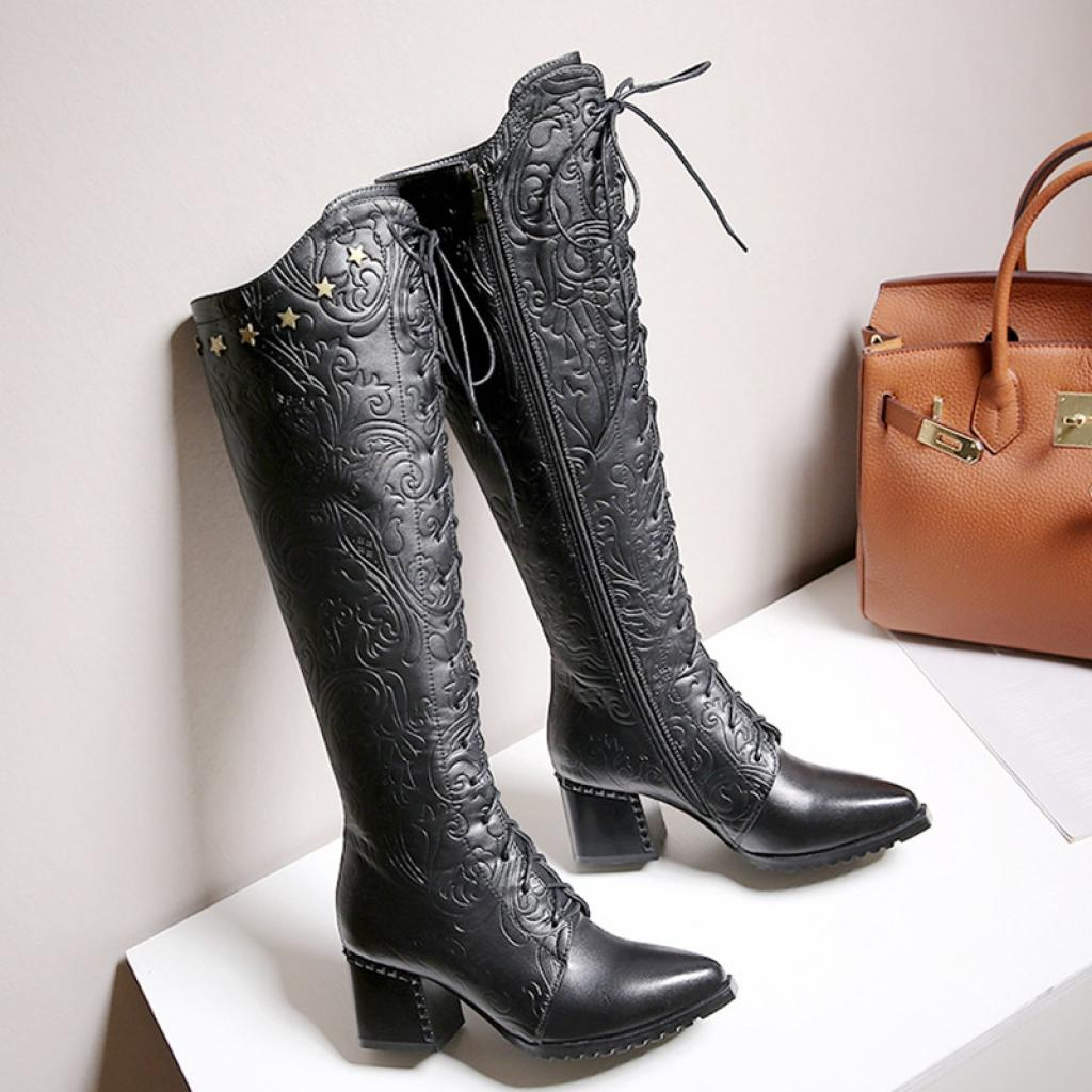 1572063c61b Agodor Women's Knee High Leather Winter Boots Fashion Chunky Heels Pointed  Toe Lace up Boots