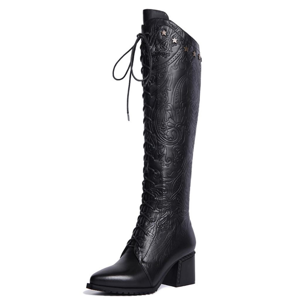Agodor Women s Knee High Leather Winter Boots Fashion Chunky Heels Pointed  Toe Lace up Boots b1b350577