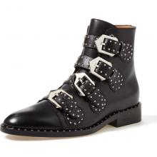 Agodor Women's Flat Heel Leather Boots Pointed Toe Ankle Boots with Rivets and Buckles