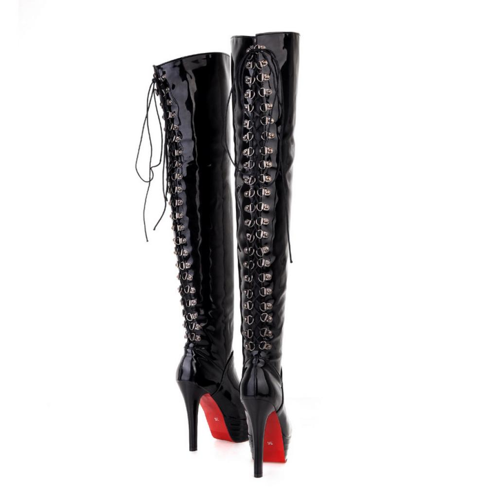 29e88151c48 Agodor Women's Over The Knee High Boots Patent Leather Lace up High Heels  Stiletto Shoes