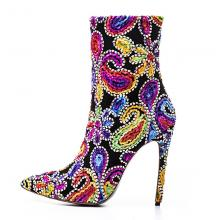 Agodor Women's Pointed Toe High Heels Stiletto Floral Print Boots with Rhinestones Elegant Sexy Party Shoes