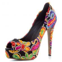 Agodor Colorful Ethnic Style Thin High Heels Women Pumps Platform Elegant Leisure Shoes Embroidery