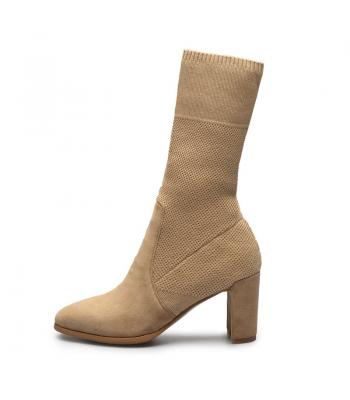 79c60951ece Agodor 2017 Brand Design Cashmere Knitting Elastic Women Shoes Woman Sexy  Square High Heels Party Boots
