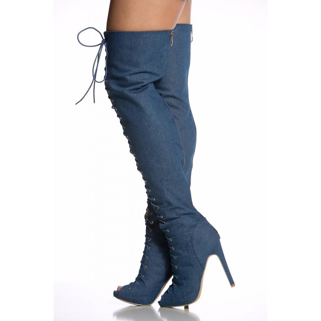 13beac2100175 ... Agodor Women s Peep Toe High Heels Lace up Denim Thigh High Boots ...