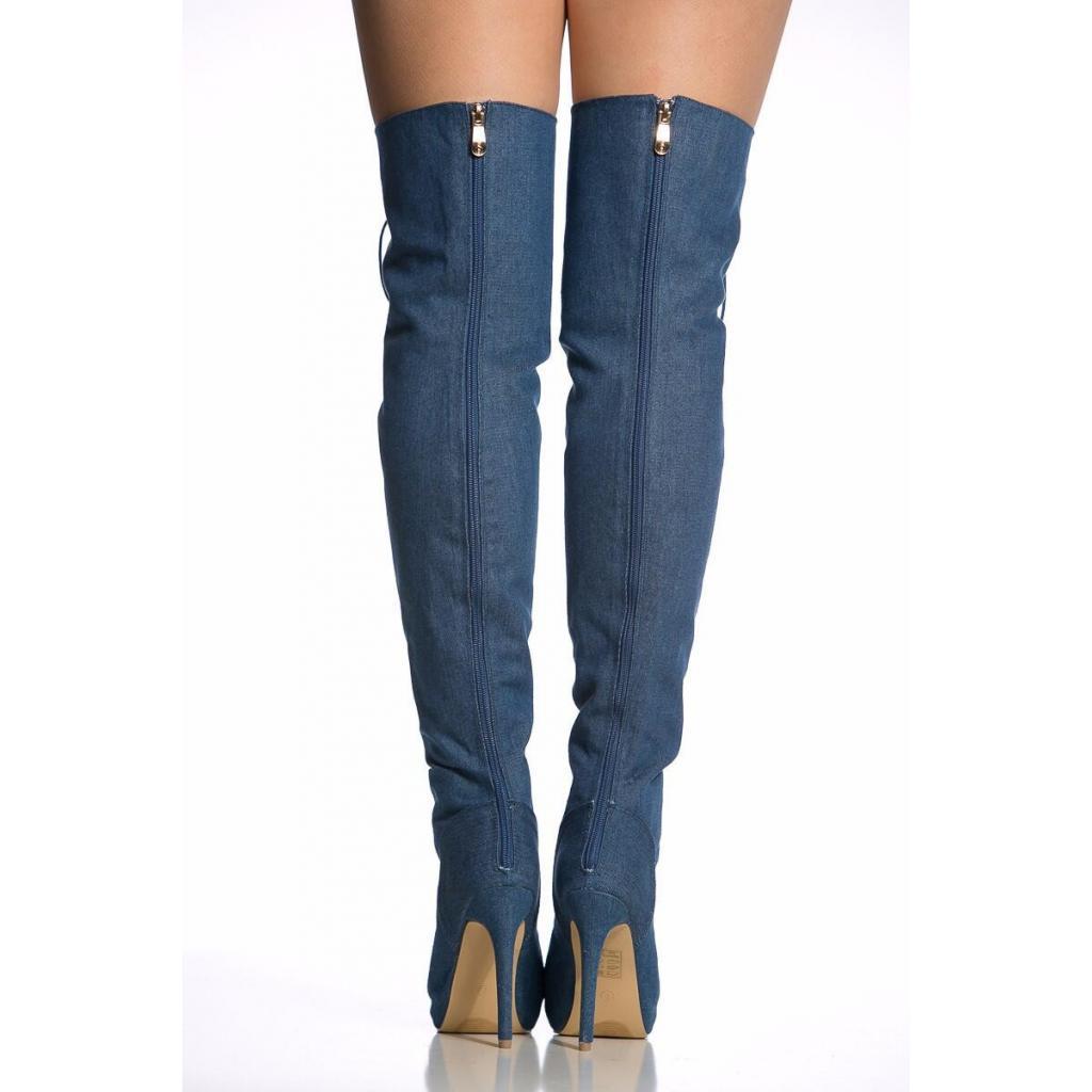 431b3845455b8 Agodor Women s Peep Toe Denim Over The Knee Thigh High Boots High ...
