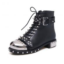 Agodor Women's Brand Design Genuine Leather Boots with Rivets Punk Lace up Martin Boots