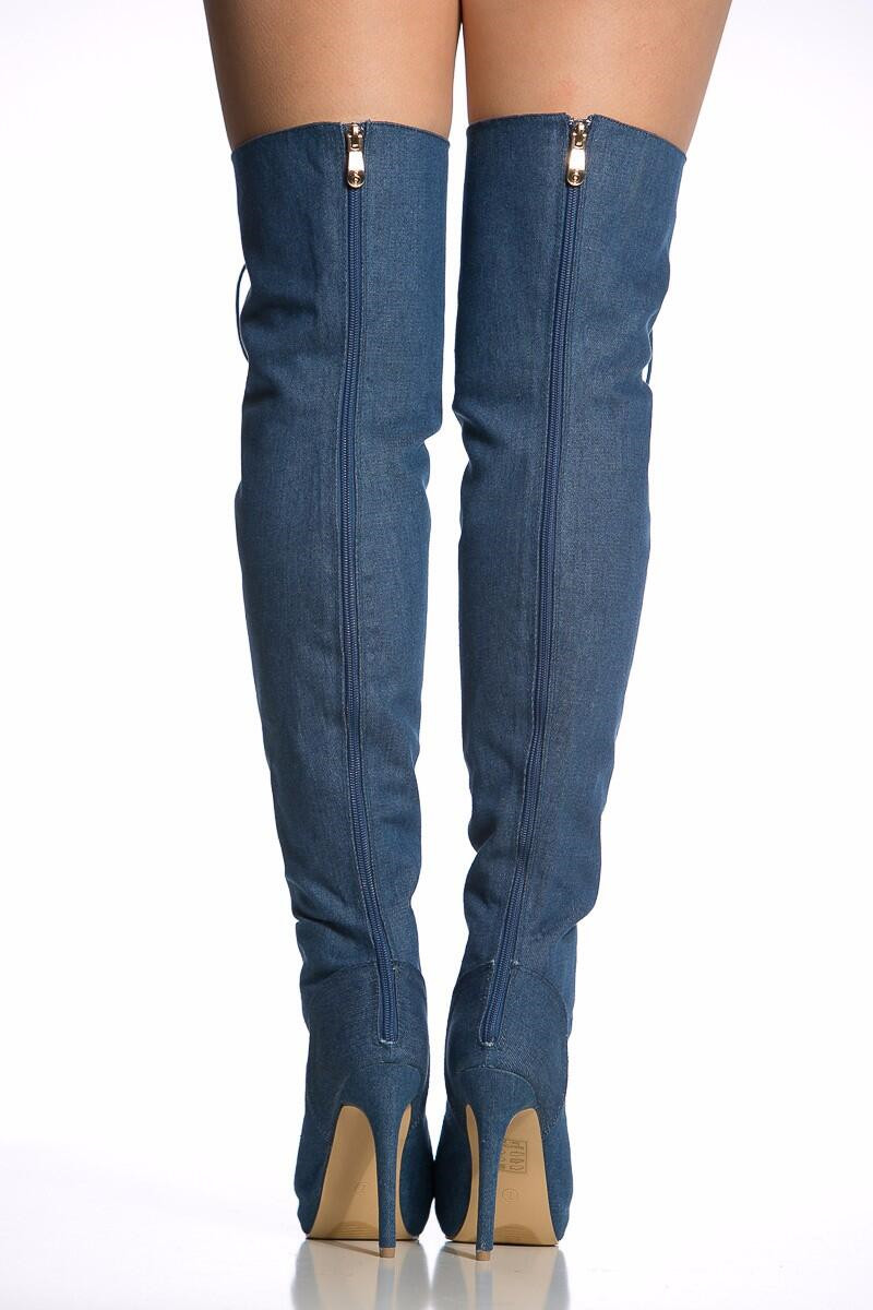 91439cce65b87 Shaft height Thigh High Over The Knee Boots. Toe Type Peep Toe. Closure  type Lace up. Color Blue